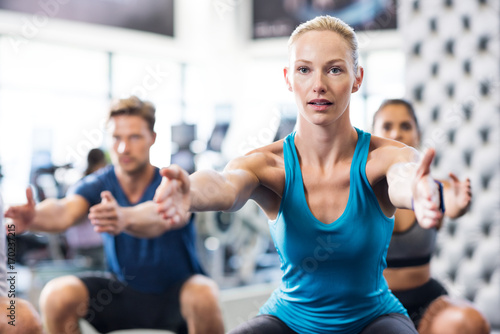 Sticker Woman exercising in gym