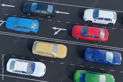 Cars on road. 3D rendered illustration. View from top.
