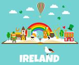 Trip to Ireland or Dublin. Set of illustrations of Irish drinks, costumes, traditional symbols, musical instruments, nature, symbols.