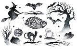 Halloween hand drawing black white graphic set icon, drawn Hallo - 170243253