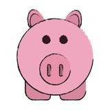 Pig of animal cartoon and farm theme Isolated design Vector illustration