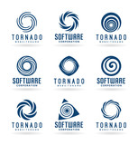 Abstract tornado symbols and spiral logo design elements  - 170243878