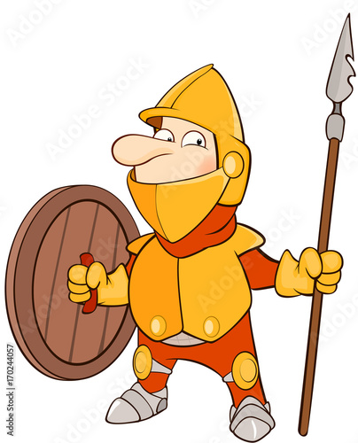 Foto op Canvas Babykamer Illustration of a Cute Knight. Cartoon Character