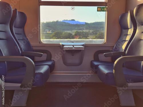 Empty seats in a train