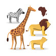 animals of african safari over white background colorful design vector illustration