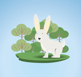 cute rabbit icon over trees and blue background colorful design vector illustration