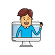 technology computer with man inside vector illustration