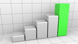 Growing chart or grey and green bar graph. Business growth or success concepts. 3D rendering - 170261057