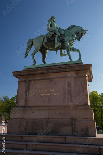 Equestrian statue of King Carl Johanin the Palace Square in Oslo, Norway unveile Poster
