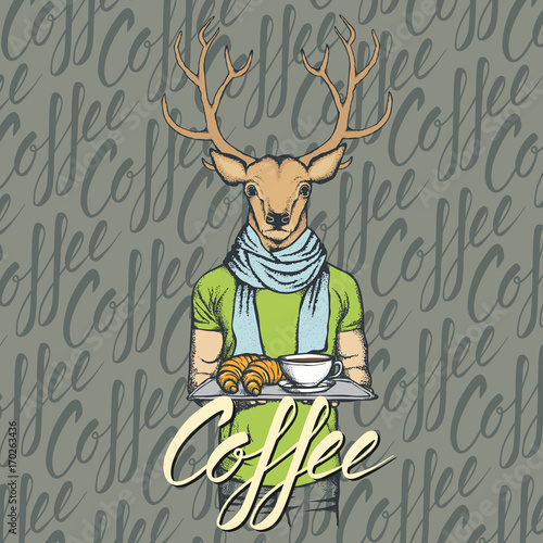 Aluminium Hipster Hert Vector Illustration of deer with croissant and coffee