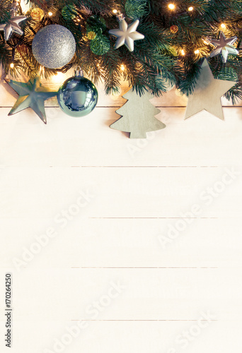 Turquoise Vertical Christmas Banner, Copy Space, Instagram Filter - 170264250