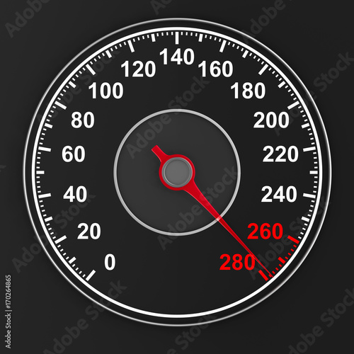 speedometer on black background. 3D illustration Poster