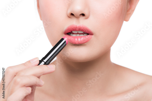 Pretty face beauty lady applying lipstick Poster