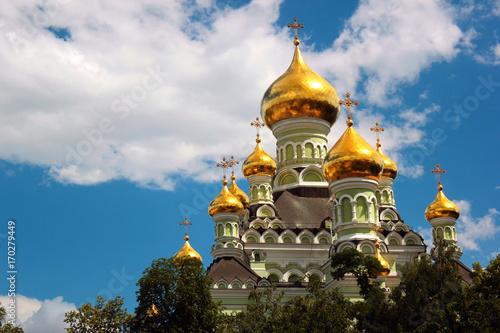 Fotobehang Kiev Saint Nicholas Orthodox Cathedral of the Pokrovsky Intercession Monastery and nunnery in Kiev, Ukraine