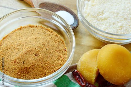 Fotobehang Thailand Prik Gub Klur (Thai name) is Traditional Thai food of Sukhothai city. coconut ,salt,dried chili and sugar palm are ingredient for this menu.