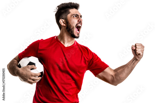 Fan / Sport Player on red uniform celebrating on white background Poster