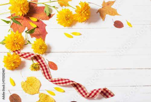 autumn leaves on white wooden background - 170282467
