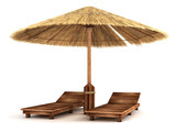 Cane umbrella and wooden chaise lounges. 3d image isolated on white