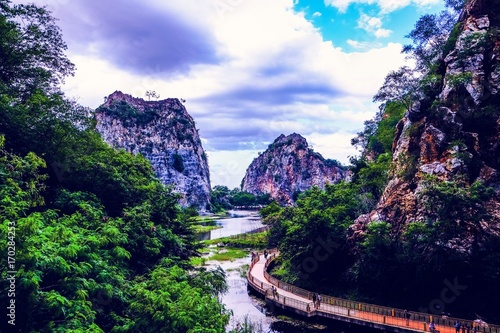 Aluminium Bergrivier Landscape and Beautiful nature in Thailand