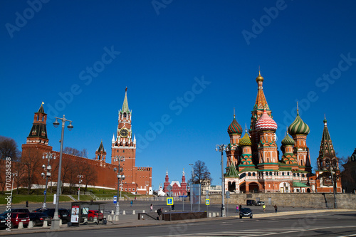 Fotobehang Moskou picture of san basil in red square one of the most important monument of moskow russia