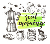 Breakfast set. Traditional Italian coffee maker, coffee in a cup, toast, croissant, pancakes, boiled egg. Food elements collection. Vector ink hand drawn illustration with calligraphy style lettering. - 170290671