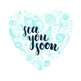 Heart shape Composition with mollusk sea shells, starfish, pebble. Marine Ink hand drawn elements for design. Template for cards, posters with brush calligraphy style lettering. Vector illustration. - 170291086