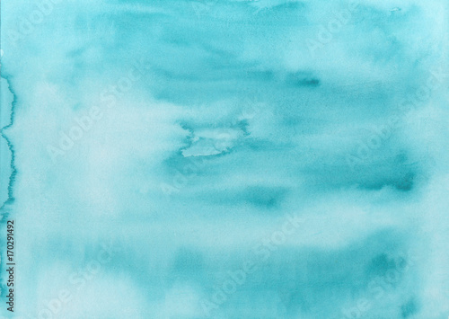 Abstract hand painted watercolor background. Decorative chaotic colorful texture for design. Hand drawn picture on paper. Handmade overlay backdrop. Bright artistic painting with blots. - 170291492