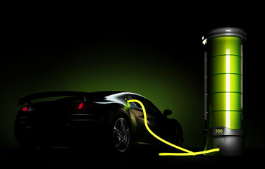 3d illustration of electric car connected to big battery. Concept of charging electrical automobile