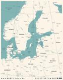 Baltic Sea Area Map - Vintage Vector Illustration - 170296428