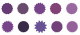 Set of icons badges starburst, sunburst, label, sticker. 10 different shades of purple, lilac, violet. - 170296683