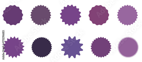 Set of icons badges starburst, sunburst, label, sticker. 10 different shades of purple, lilac, violet. - 170296683