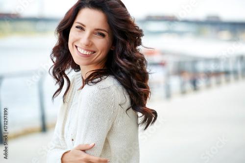 fototapeta na ścianę lovely beautiful woman in a woolen sweater. Beauty concept