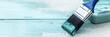 Quadro Panorama, Pinsel auf Holz, Shabby chic Farben in Weiß und Blau, Textfreiraum