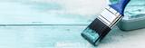 Panorama, Pinsel auf Holz, Shabby chic Farben in Weiß und Blau, Textfreiraum - 170300051