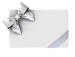 Blank gift card with silver ribbons and bow isolated on white background . 3D rendering.