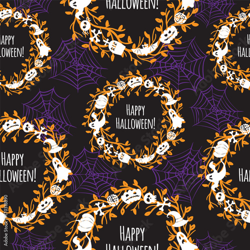 Cotton fabric Happy Halloween. Seamless vector background.