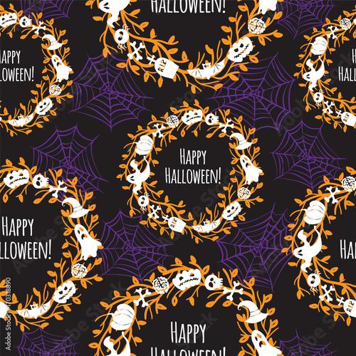 Materiał do szycia Happy Halloween. Seamless vector background.