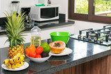 Fresh fruits and vegetables in the kitchen