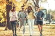 Group of young friends jogging at the park.Autumn season.