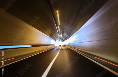 Road in an underground tunnel. Plakát