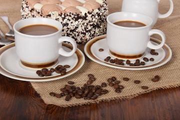 coffee with whipped cream and chocolate and coffee with cream cake © Kinga