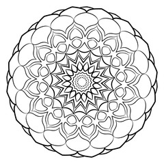 A beautiful monochrome mandala. Hexagonal star. A pattern for a color book. Template for printing on fabric. Image for relaxation and meditation. Coloring element.
