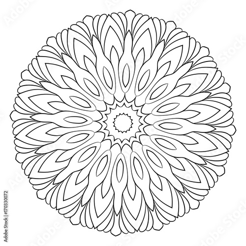 Monochrome mandala. Hexagonal star. A pattern for a color book. Picture for the album. Template for printing on fabric. Image for relaxation and meditation.