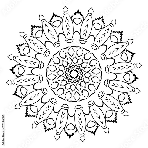 A beautiful monochrome mandala. A pattern for a color book. Picture for the design of the album. Template for printing on fabric. Image for relaxation.