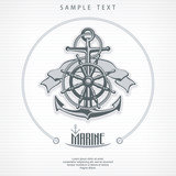 Anchor with rope, steering wheel ribbon, nautical round symbols.