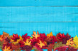 Blank blue sign with colorful fall leaves border