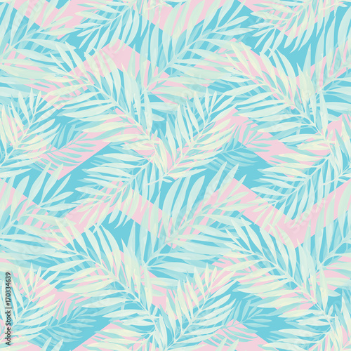 Materiał do szycia Tropical palm leaves pattern. Trendy print design with abstract jungle foliage. Exotic seamless background. Vector illustration