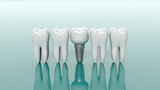 Teeth isolated on green background. 3d illustration