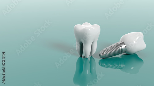 Teeth isolated on green background. 3d illustration - 170345493