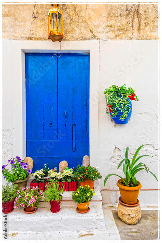 Aluminium Freesurf Charming rustic floral decoration of streets in Greek islands